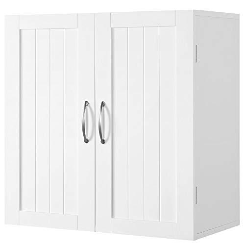 YAHEETECH Bathroom Medicine Cabinet, 2 Door Wall Mounted Storage Organizer with Adjustable Shelf Cupboard Unit for Bathroom/Living Room/Kitchen/Laundry, White