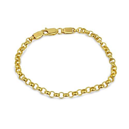 Armband Gold Damen 585 massiv Goldarmband ohne Stein 19 cm Erbskette 14 Karat Gelbgold