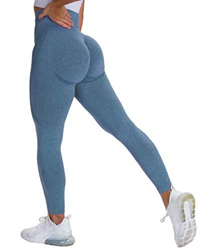 STARBILD Leggings Mallas Mujer sin Costuras Push up Pantalones Largos de Compresión Cintura Alta Elástico y Transpirable para Yoga Gym Fitness Running #Classic-Azul S