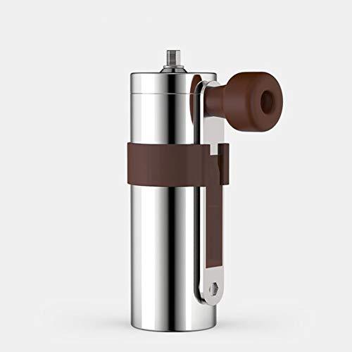GGJJZHZZ Handkurbel-Kaffeemühle, Tragbare Manuelle Kaffeebohne Kaffeemaschine, Für Office Camping Home Genuss,Silber