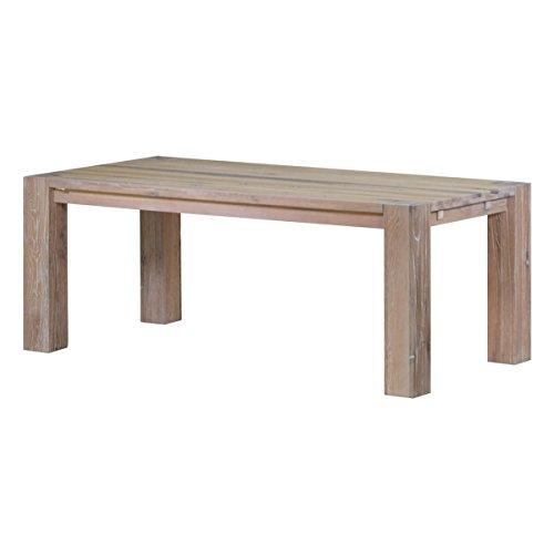MÖBEL IDEAL Esstisch Küchentisch Esszimmertisch Braxton, 180x100 cm, Massivholz Holz Eiche massiv weiß gekälkt