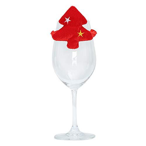 Decdeal Weihnachten Deko Tisch Weinglas Dekoration Geeignet für Weihnachten/Familie/Restaurant (Rot/Grün/WeißOptional)