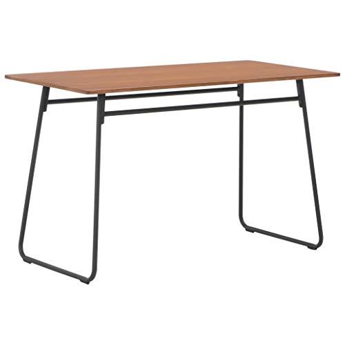 Festnight- Esstisch Baumkanten-Tisch Esszimmertisch Holz-Tisch mit schwarz lackiertem U-Gestell aus MetallBraun 120×60×73 cm Massives Sperrholz Stahl