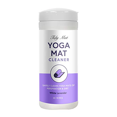 Tidy Mat Yoga Mat Cleaner Wipes – Natural Cleaner Yoga Mat Wipes – 30 Wipes with White Lavender Scent