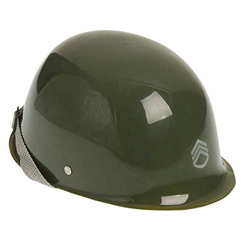 ArtCreativity Green Army Helmet, Hard Plastic Military Helmet with Chin Strap for Kids' Army Costume, Fits Most Kids, Prop for Halloween Costume, Stage Play, Pretend Play, Army Party Favors for Kids