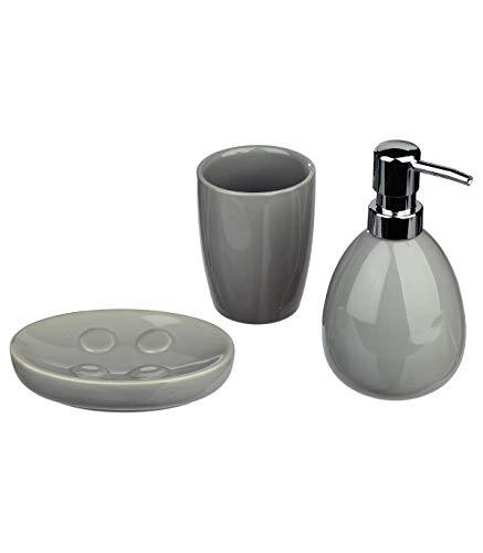 Kit de 3 accessoires de salle de bain - Look moderne - Coloris GRIS