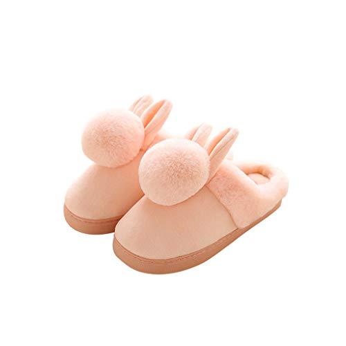 LY-LD Pantoffeln Womens Cute Bunny Kaninchen Hausschuhe Warm und bequem rutschfeste Dicke Unterseite Plüsch Baumwolle Hausschuhe,Pink,38/39