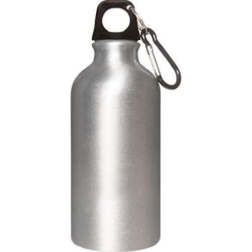 Cantimplora de aluminio de 400 ml, color aluminio con mosquetón. Medidas del artículo: 6,5 x 17,5 cm.