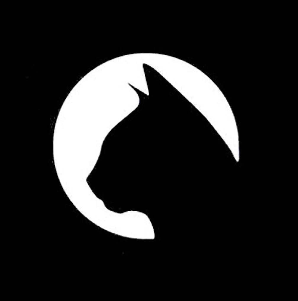観察バイバイ潜在的な猫 ネコ ねこ キャット cat サークル 動物 満月 ムーン Moon シルエット ステッカー シール デカール ホワイト