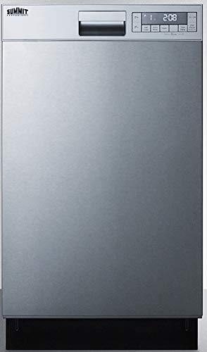 """Summit Appliance DW18SS4 18"""" Wide ENERGY STAR Qualified Built-In Dishwasher with Stainless Steel Door and Front Controls, Digital Touch Controls, Two Spray Levels, Automatic Detergent Detection"""