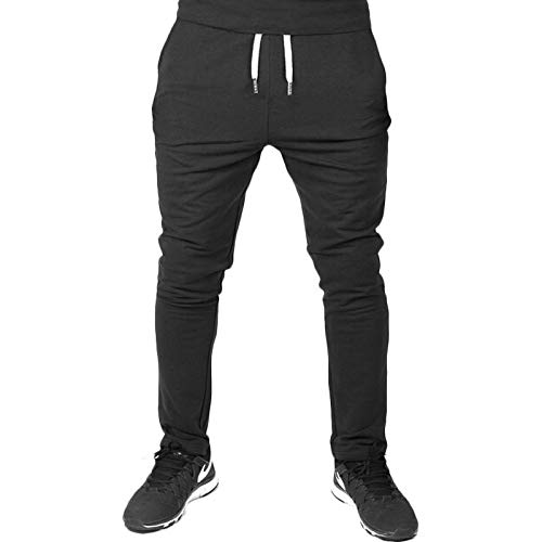 Spring and Autumn Men's Solid Color Trousers Casual Sports Pants Lightweight Joggers Trousers for Running Workout Gym L Black