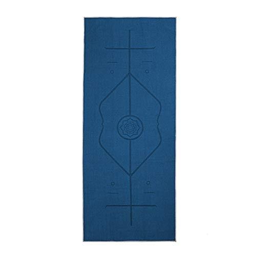 MeiZi rutschfeste Yoga-Matte Abdeckung Handtuch Schnelltrockene Anti-Skid-Mikrofaser Yoga-Matte Größe 185cm * 63cm Yoga-Handtücher Pilates Decken Fitness (Color : Dark sea Blue)