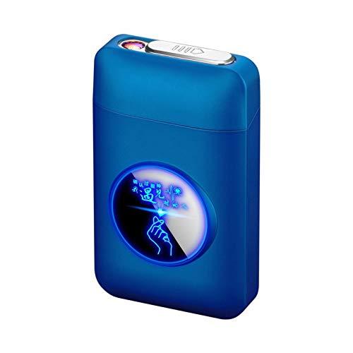 Zigarettenetui mit Feuerzeug, LED Grafik-Zigaretten-Etui, 2-in-1 Portable Elektronisches Lighter Flammenlose Aufladbar Zigarettenschachtel, Elegante Entwurf Feuerzeug Aufladbar blau