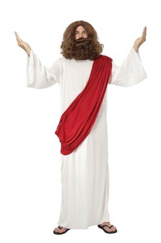 Déguisement Jesus Costume Robe, Perruque et Barbe - Taille Unique