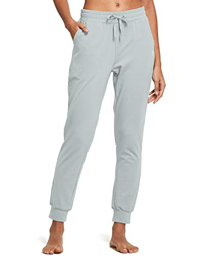 BALEAF Women's Cotton Sweatpants Leisure Joggers Pants Tapered Active Yoga Lounge Casual Travel Pants with Pockets Iron Grey L