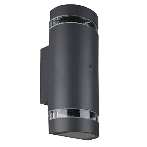 LASIDE Aussenleuchte Aussenlampe Wand mit Dämmerungsschalter, GU10 Anthrazit Aluminium Up and Down Außenlampe Außenleuchte, IP44 Spritzwassergeschützt Wandlampe Wandleuchte Lampe Aussen Außen Leuchte