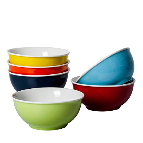 Xiteliy Ceramic Bowls set porcelain soup noodle bowl Cereal Multicolour Set of 6 for Home and Restaurant (6, Multicolour)