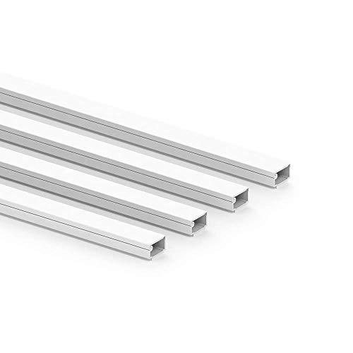 Habengut clip-Kabelkanal (mit Schaumklebeband) 7x12 mm aus PVC, Farbe: Weiß, Länge 4 m (4 x 1 m Länge)