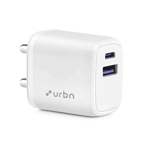 URBN 20W Dual Port Super Fast Charging Wall Adapter Quick Charge 3.0 & Power Delivery 3.0 Compatible for Android & iPhone (White)