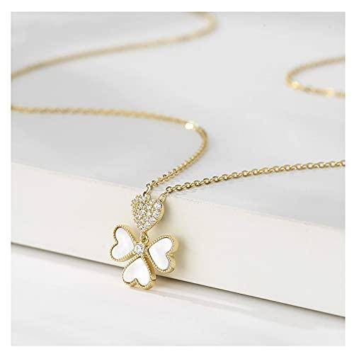 QZH Collar de Perlas, Plata esterlina Collar de trébol de Cuatro Hojas Diseño de nicho Femenino Sense of Light Lujo Simple Cadena de clavícula Salvaje Collar de Gargantilla de joyería de Marea