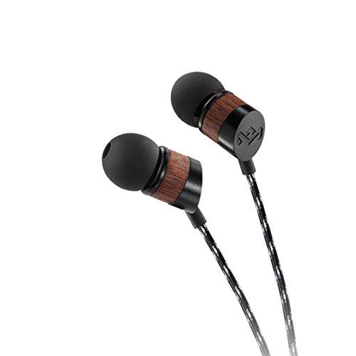 House of Marley Uplift Auricolari Inear con Microfono, Design ad Isolamento Acustico, Gommini in Gel di 3 Dimensioni, Nero/Legno