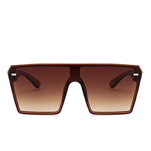 AleXanDer1 Gafas de Sol Moda de Gran tamaño Cuadrado Gafas de Sol Degradado Marco Grande Gafas de Sol Mujeres Visor de Sol Lente Transparente (Lenses Color : Brown)