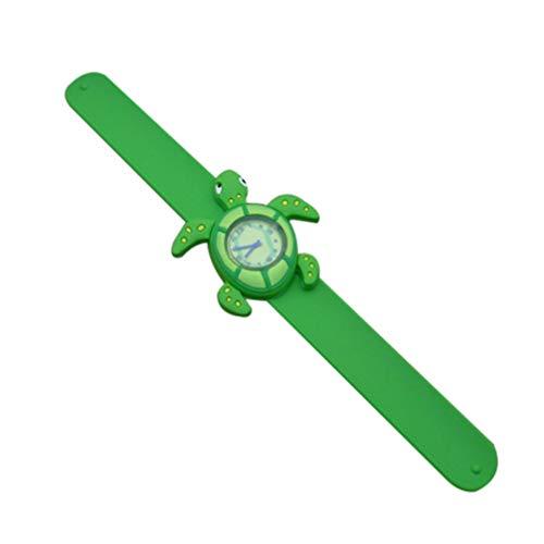 HEMOBLLO niños bofetada Reloj Dibujos Animados Divertidos niños Reloj de Cuarzo bofetada Reloj de Pulsera Juguetes para Estudiantes niños (Tortuga)