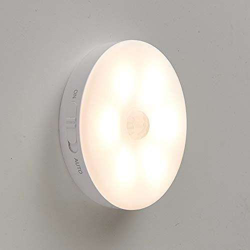 Luz de noche LED Lámpara de pared recargable por USB con sensor de movimiento,iluminación con batería de litio para armario,dormitorio,armario de pared,pasillo,etc.(1 luz cálida)
