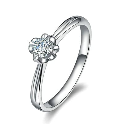 Bishilin Alianzas Oro Blanco 750, Flor 0.18 Diamante Anillo