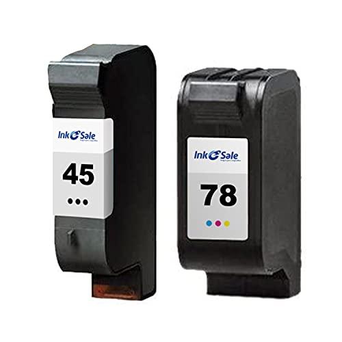 Ink E-Sale Remanufacturado 45 78 para Cartuchos HP 45 78 Compatibles con Officejet 1170 G55 G85 Deskjet 1180c 1220c 1280 Photosmart 1000 1100 1115 1215 P1000 P1100 Copier 180 280,1 Negro 1 Tricolor