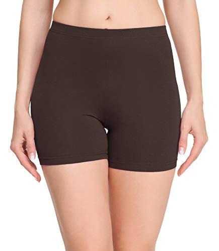 Merry Style Damen Shorts Radlerhose Unterhose Hotpants Kurze Hose Boxershorts aus Baumwolle MS10-392 (Braun, S)