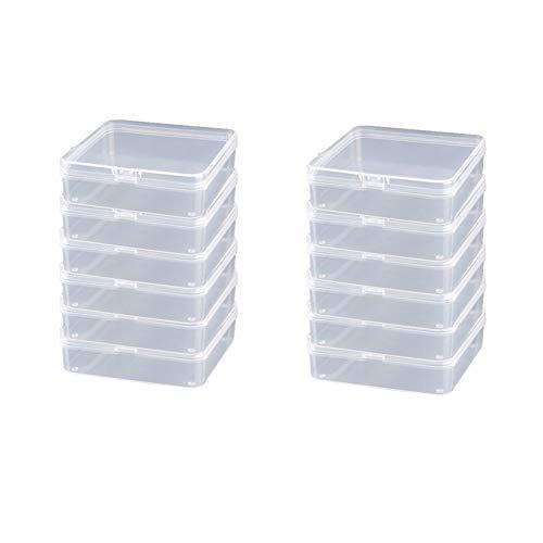 12 Piezas de Caja Contenedor de Plástico Transparente de Rectángulo Pequeño con Tapa con Bisagra Caja de Almacenamiento de Abalorios , para Artículos, Pildoras, Joyas