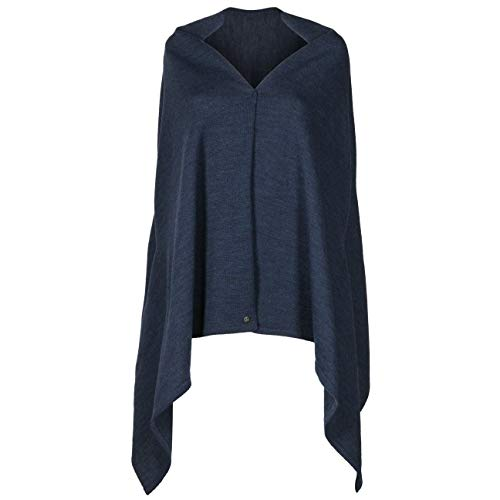 Lierys Classico 2in1 Schal Strickschal Winterschal Poncho Damen - Made in Germany Herbst-Winter - One Size dunkelblau-meliert