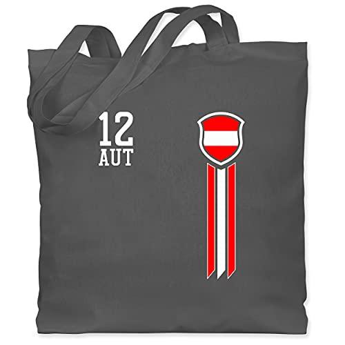 Shirtracer Fussball EM 2021 Fanartikel - 12. Mann Österreich Fanshirt - Unisize - Dunkelgrau - WM101 - WM101 - Stoffbeutel aus Baumwolle Jutebeutel lange Henkel