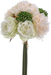 Richland Blush & White Peonies, Sedum, Silk Peony & Rose Bouquet, Artificial Flowers, Wedding Bouquet