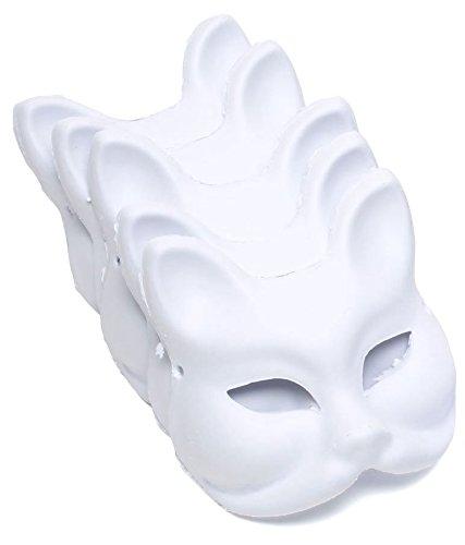 StyleCoS お面 半顔 狐面 猫面 仮装 コスプレ ペイント 紙パルプ製 (狐面, 5枚セット)
