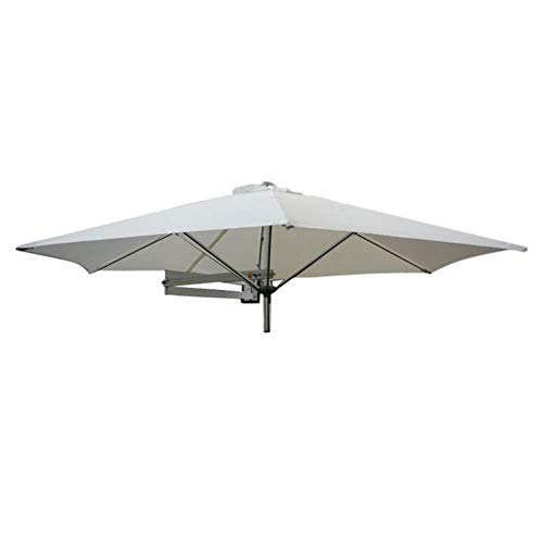 Parasols Wall-Mounted Patio Umbrella With Metal Pole - Outdoor Garden Yard Balcony Tilting Sunshade Umbrella, 8ft / 250cm (Color : Off-White)