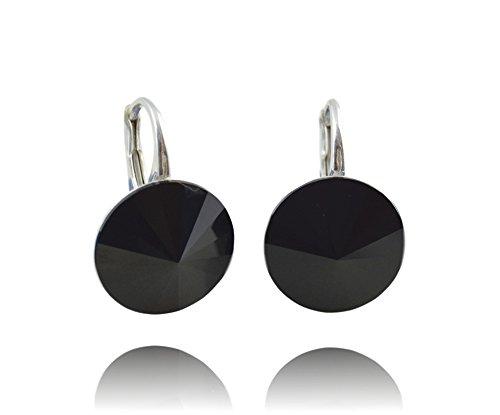 Crystals & Stones *RIVOLI* 14 mm *Schwarz* Ohrringe Damen Ohrhänger mit Kristallen von Swarovski Elements