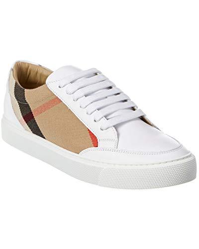 BURBERRY Zapatillas deportivas de mujer de tela y piel 8024326 blanco Check