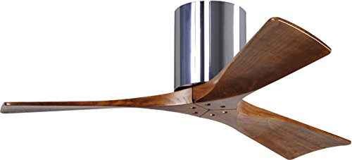 Matthews IR3H-CR-WA-42 Irene Indoor/Outdoor Damp Location 42' Hugger Ceiling Fan with Remote & Wall Control, 3 Wood Blades, Polished Chrome