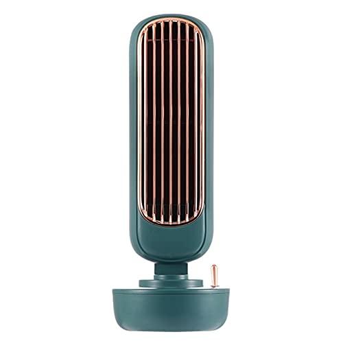 Retro Tower Fan Multifuncional Desktop Silent Air Cooler USB 2 en 1 Agua Pulverización Fan Humidificador Inicio Oficina Sin Hojas Fan de enfriamiento (Color : Verde)