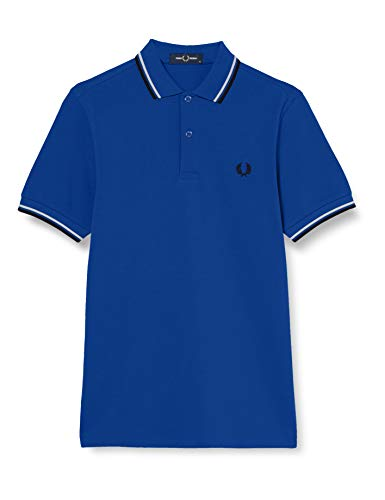 Fred Perry Herren Twin Tripped Tennis-Shirt, Cobalt/Snow White/Black, XL