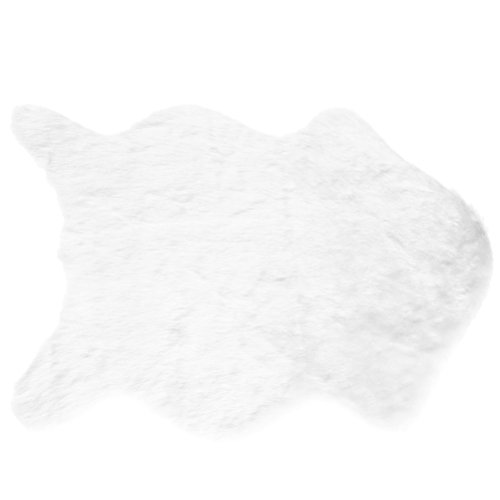 BESTOMZ Faux Lammfell Schaffell Teppich 60 x 90 cm Lammfellimitat Teppich Longhair Fell Optik Nachahmung Wolle Bettvorleger Sofa Matte (Weiß)