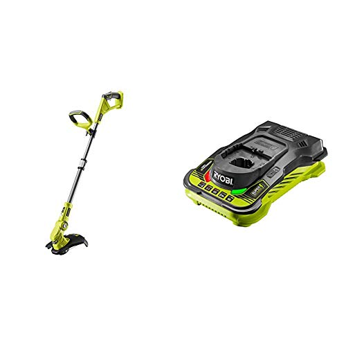 Ryobi OLT1832 18V ONE+ Cordless Grass Trimmer, 25-30cm Path (Zero Tool), 18 V, Hyper Green & RC18150 18V ONE+ Cordless 5.0A Battery Charger