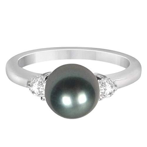Anillo de perlas cultivadas de 3 diamantes y piedras negras de Akoya de 0.17ctw (8 mm), anillo de compromiso de oro de Por siempre uno, anillo de bodas, anillo de oro de promesas