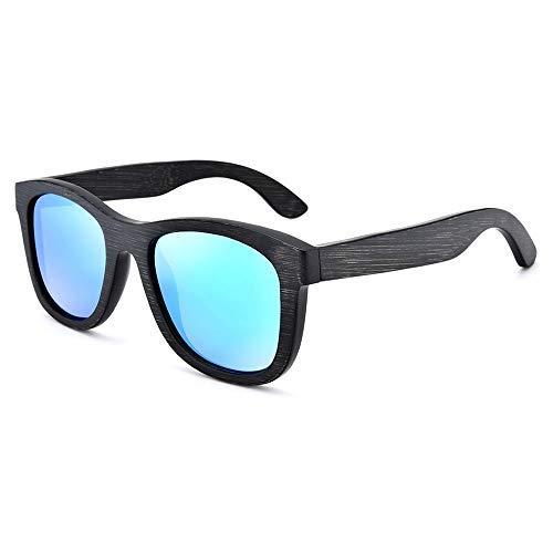 ZJN-JN - Gafas de sol de bambú hechas a mano, para hombres y mujeres, cuadradas, con revestimiento polarizado, retro, color gris, tamaño: libre) (color: verde)