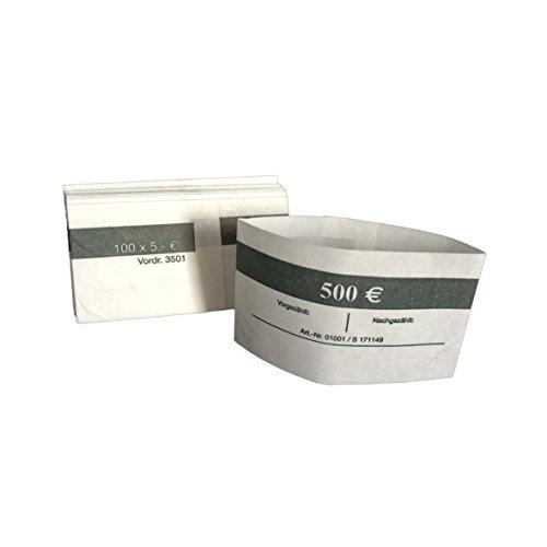 1000 Stück Geldbanderole Papier für: 100 x 5 € grau, Banderolen für Euro Geldscheine