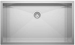 """ZUHNE 32X19 ADA Compliant Shallow 6"""" Basin Zero Radius Single Bowl Under Mount Stainless Steel Bar, Prep, Kitchen, Laundry and Utility Sink, Fits 36"""