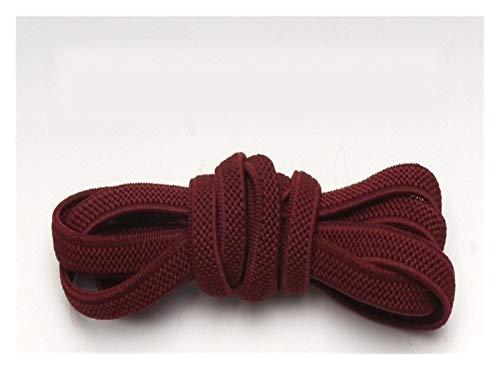 LCHB - 1 par de cordones planos con cierre elástico, sin lazo, para zapatos, unisex, creativo, para zapatos, cordones (color: rojo vino), color rojo