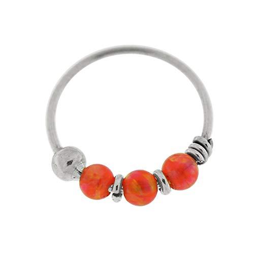 9K Weißgold dreifach Orange Opal Bead 22 Gauge Hoop Nase Piercing Ring Schmuck